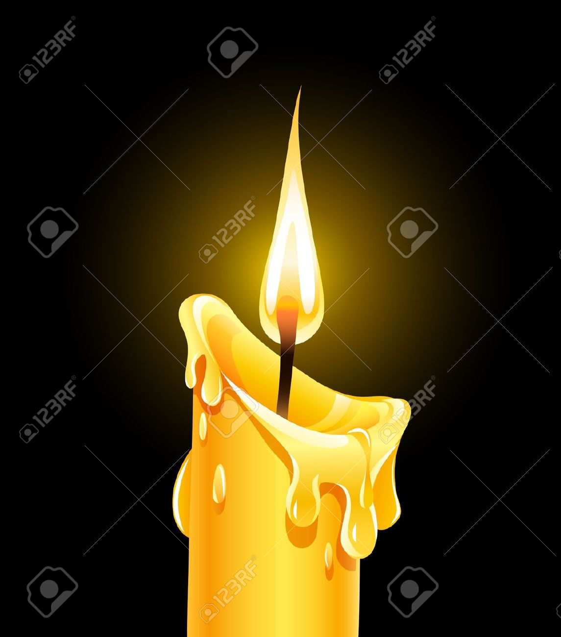 Fire Of Burning Wax Candle. Royalty Free Cliparts, Vectors, And.