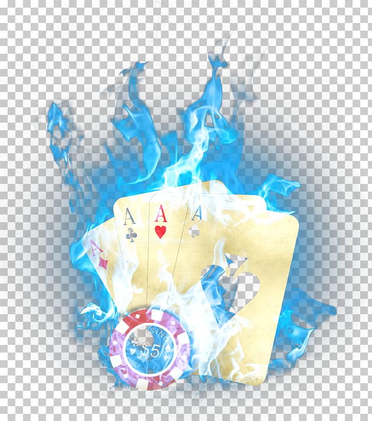 Poker Playing card Gambling Casino token Gambler, Blue Fire.