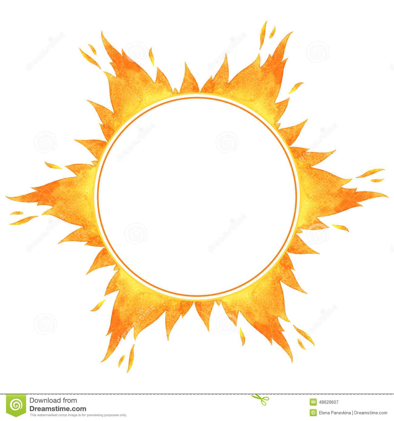 Fire Circle Frame Stock Vector.