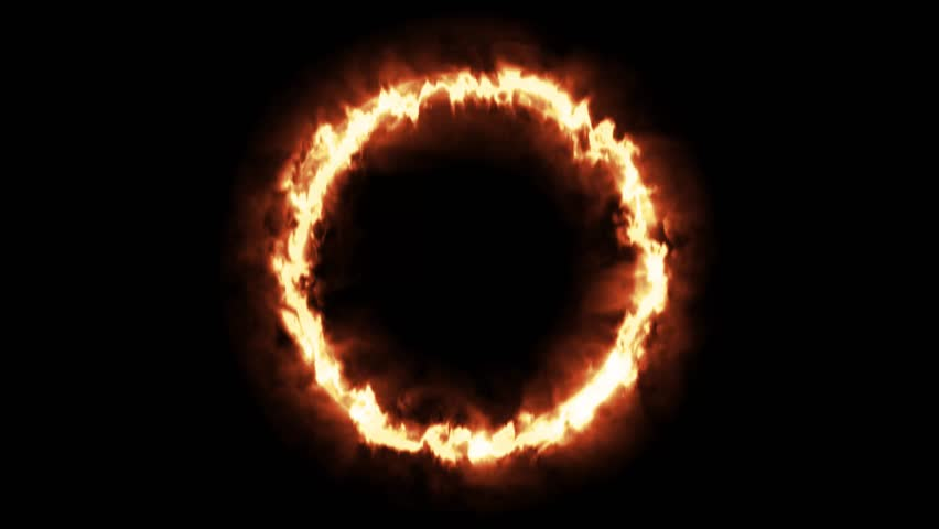 Fire Ring Flame Circle 4k Stock Footage Video (100% Royalty.