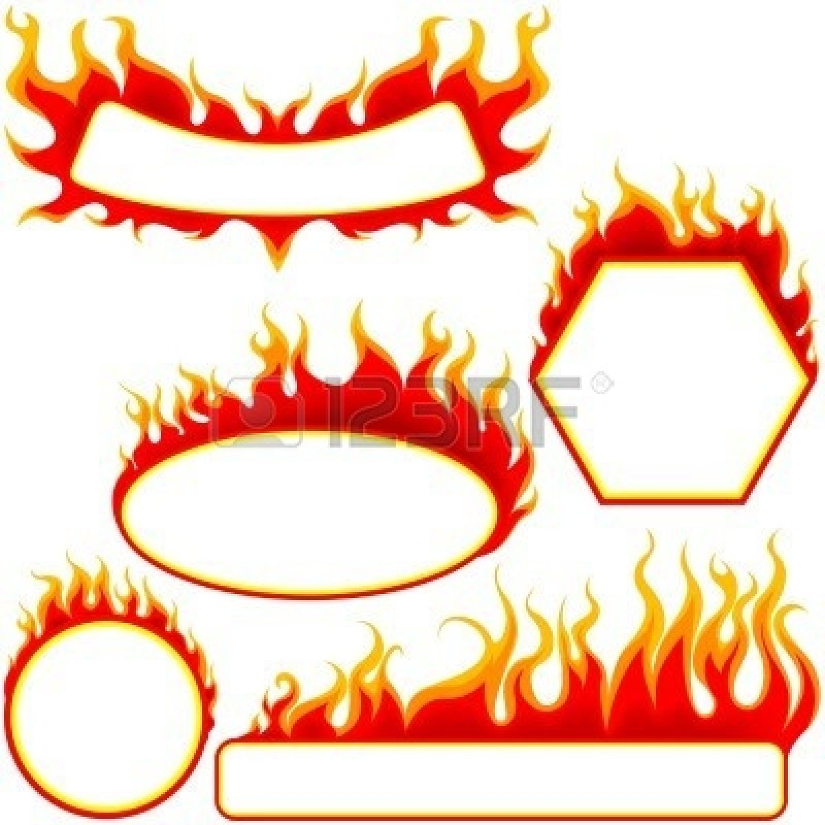 Flame circle outline clipart.