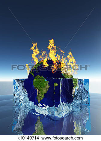 Drawings of Earth inside ice cube being consumed by fire k10149714.