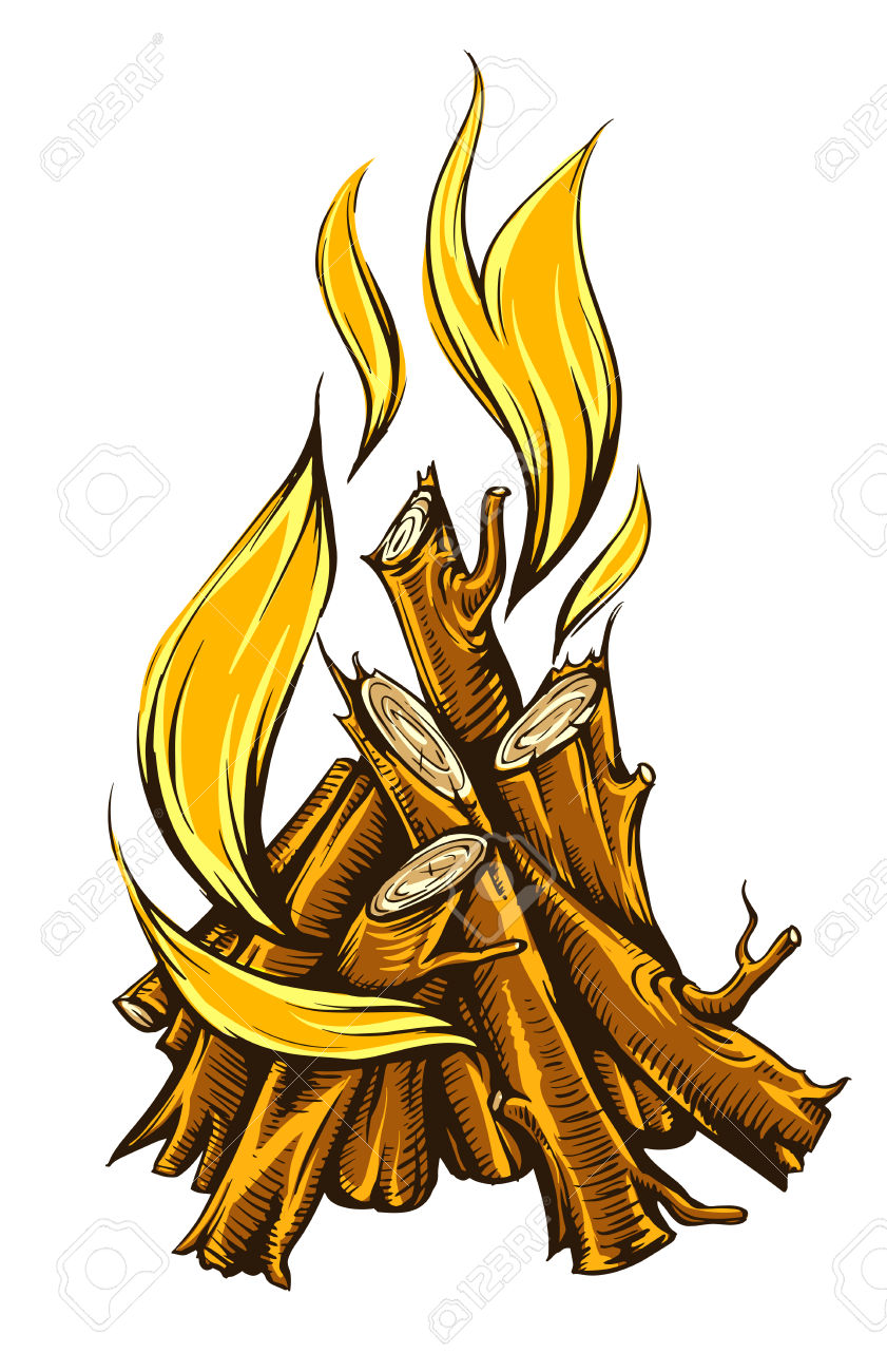 Flame Fire Of Campfire With Firewood. Isolated On White Background.