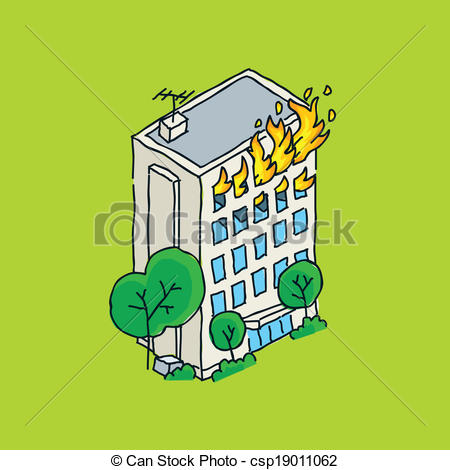 Clip Art Vector of Apartment Building Fire Cartoon of an apartment.