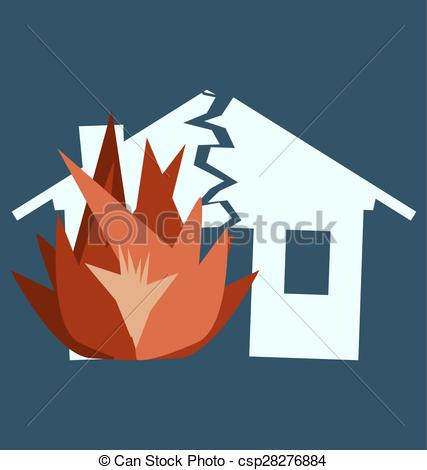 Vector of Fire Damage, silhouette of broken house as illustration.