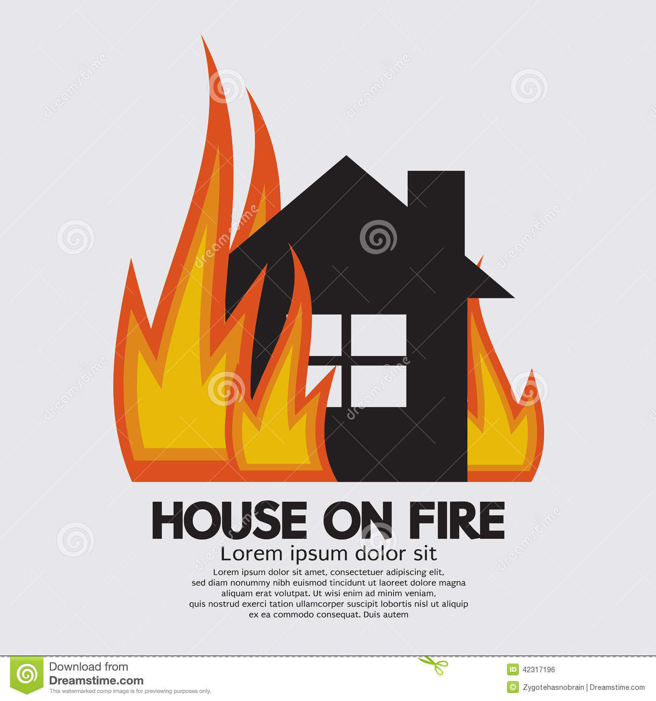 House fire clipart.