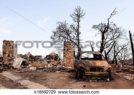 Stock Photograph of Fire damaged property k18592729.