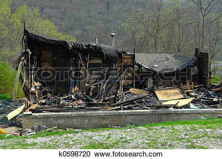 Stock Photography of Burned, Fire Damaged Home k0598720.
