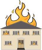 Stock Photo of Insurance assessor inside fire damaged property.