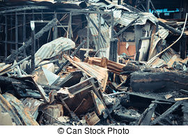 Pictures of Conflagration fire damaged in summer house after blaze.