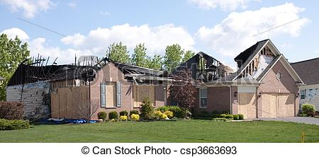 Stock Photos of Fire Damaged House 2.