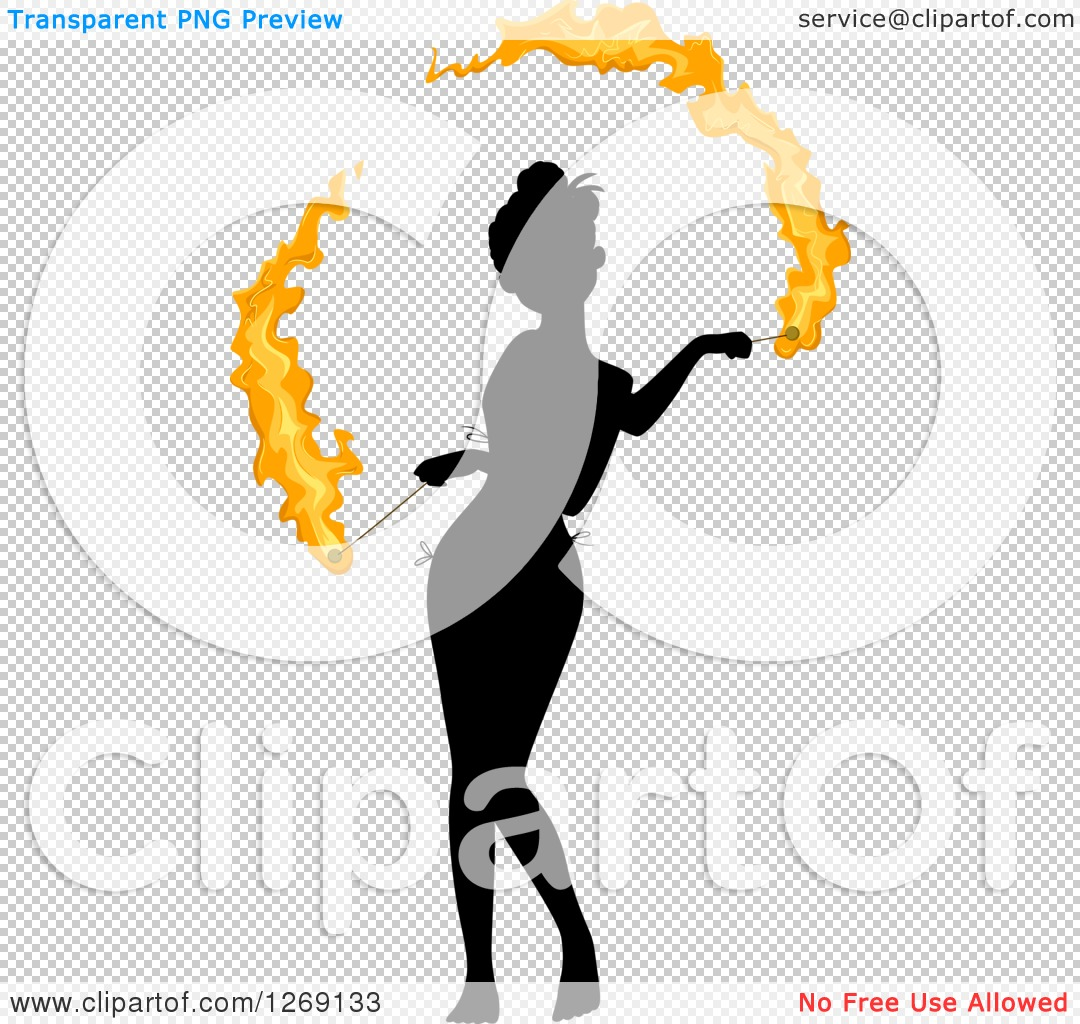 Clipart of a Silhouetted Black Woman Fire Dancing with Colored.