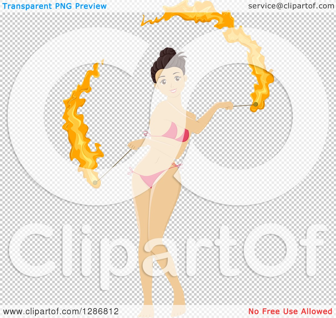 Clipart of a Brunette White Woman Fire Dancing in a Bikini.