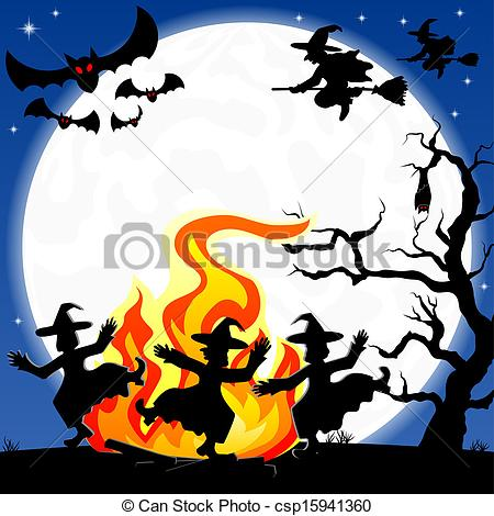 Clip Art Vector of witches dancing around fire at halloween.
