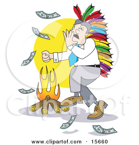 Happy Businessman Wearing A Native American Feathered Headdress.