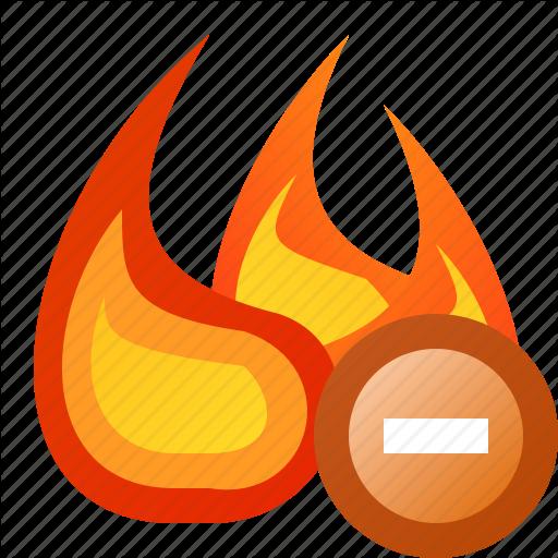 Delete, fire, flame, junk icon.