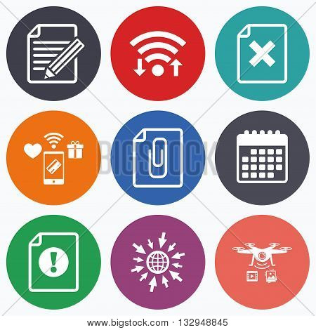Wifi, mobile payments and drones icons. File attention icons.