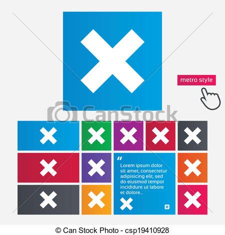 Vector Illustration of Delete sign icon. Remove button. Metro.