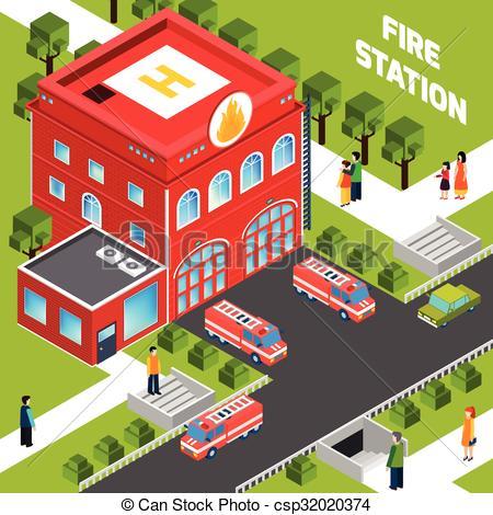 Vectors Illustration of Fire Department Building Isometric Concept.