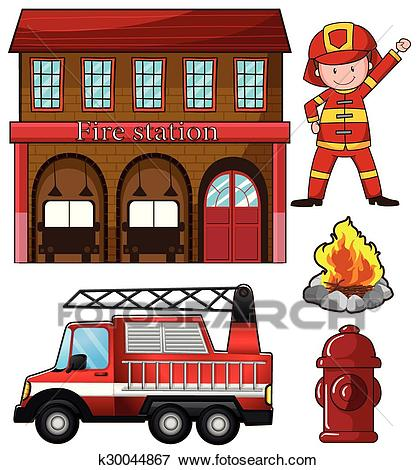 Fireman and fire station Clip Art.