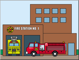 Clip Art: Buildings: FIre Station Color I abcteach.com.