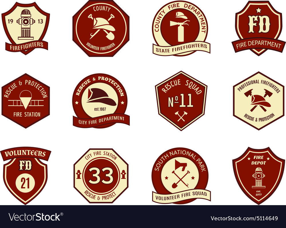 Fire department logo and badges.