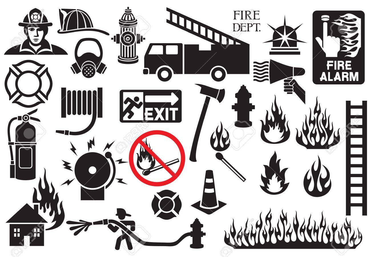 firefighter icons and symbols collection (fire department icons).