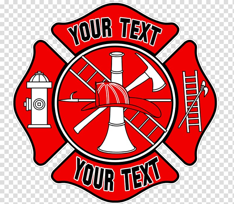 Red and black firefighter logo template, Fire department.