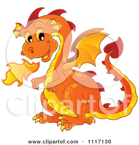 Clipart of a Cartoon Green Fire Breathing Dragon in a Cave with.