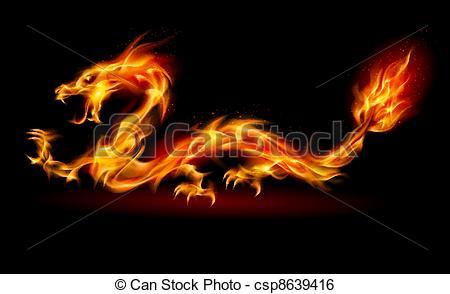 Clip Art Vector of Fire Dragon.