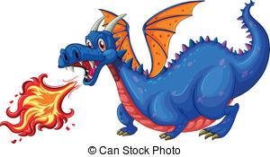 Vector Clip Art of Blue fire Dragon.