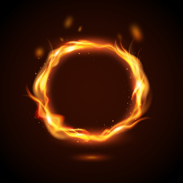 Realistic fire ring concept Vector.