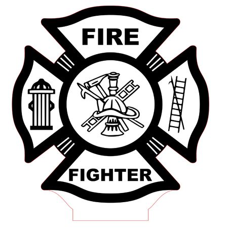 Fire fighter emblem led lamp vector file.