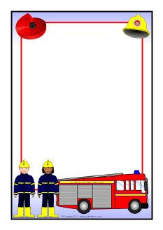 Printable fire truck border. Free GIF, JPG, PDF, and PNG downloads.