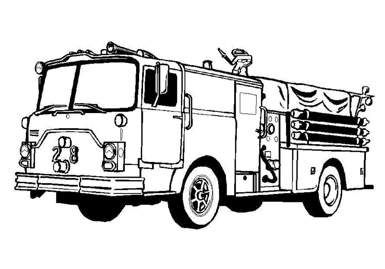 Fire Truck Clipart Black And White Free 5.