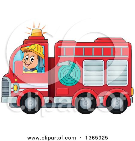 Clipart of a Cartoon White Male Fireman Driving a Fire Truck.