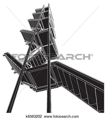 Clipart of A Fire Escape Stairs k6563202.