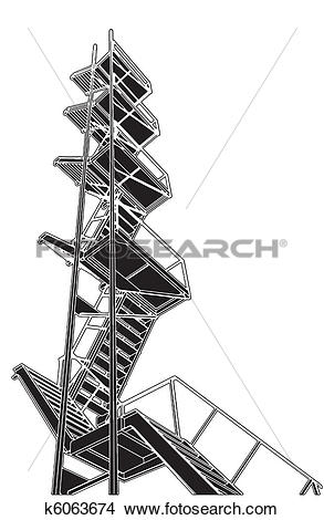 Clipart of A Fire Escape Stairs k6063674.