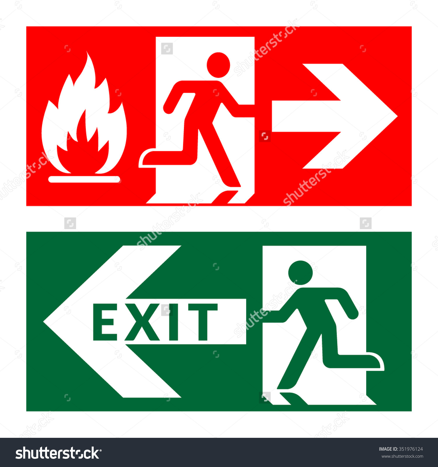 Fire Exit Sign Stock Vectors & Vector Clip Art.