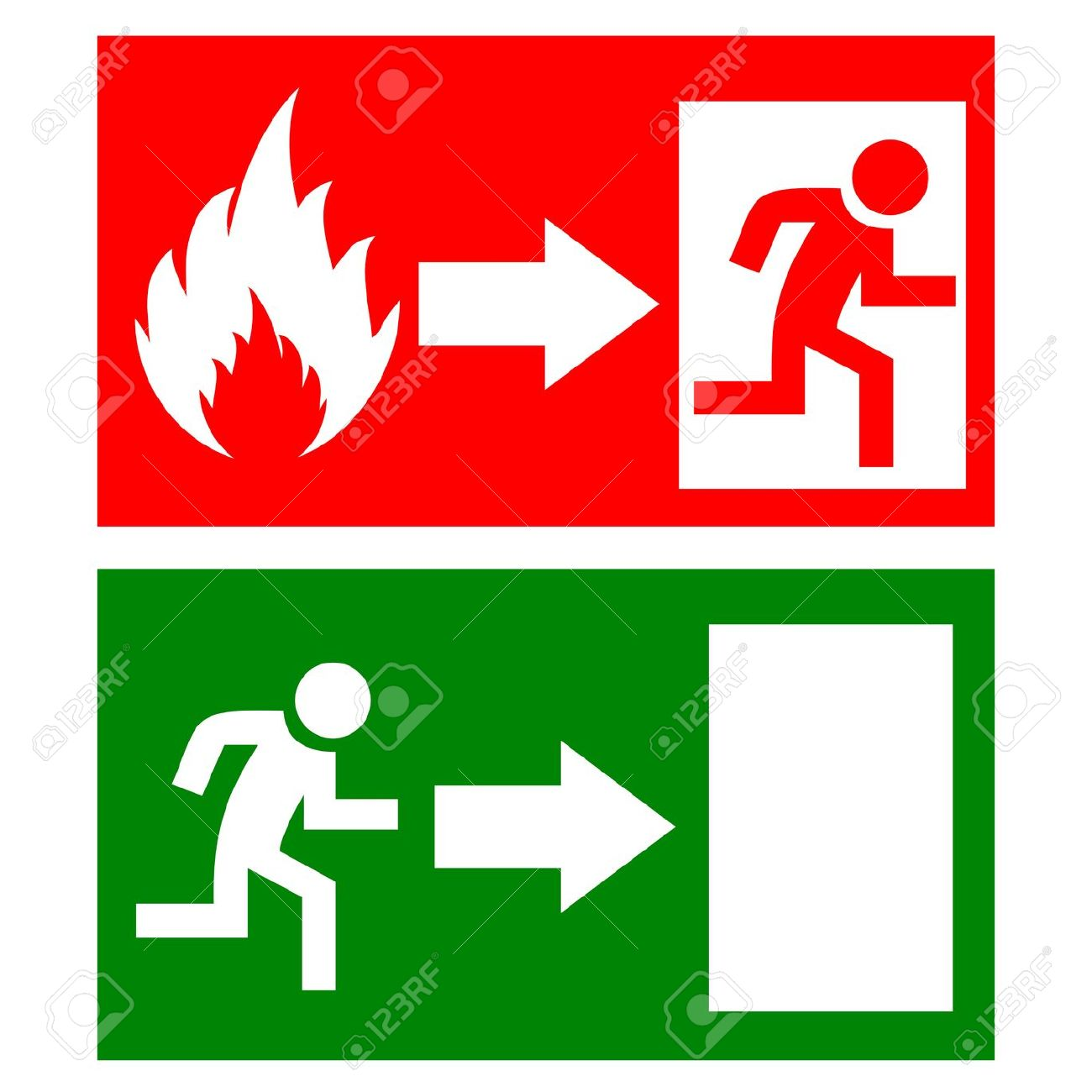 Fire Exit Signs Royalty Free Cliparts, Vectors, And Stock.
