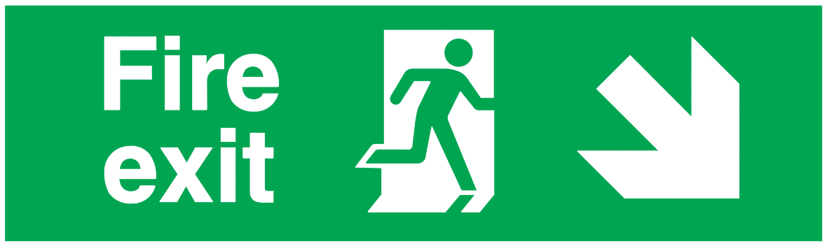 Fire Exit Running Man Right Arrow Right Down.