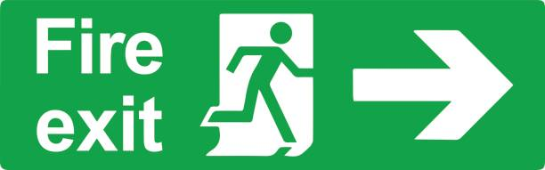Top 60 Fire Exit Sign Clip Art, Vector Graphics and Illustrations.