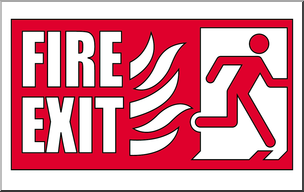 Clip Art: Signs: Fire Exit 2 Color I abcteach.com.