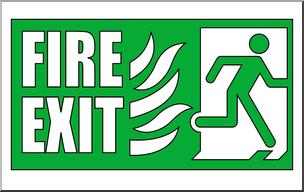 Clip Art: Signs: Fire Exit 1 Color I abcteach.com.