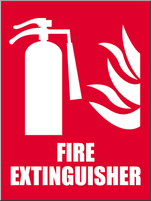 Clip Art: Signs: Fire Extinguisher 1 Color I abcteach.com.