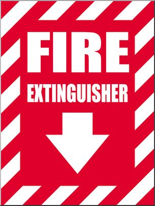 Clip Art: Signs: Fire Extinguisher 2 Color I abcteach.com.