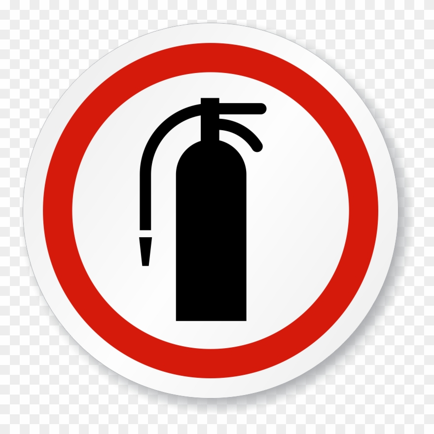 Fire Extinguisher Symbol Iso Circle Sign.