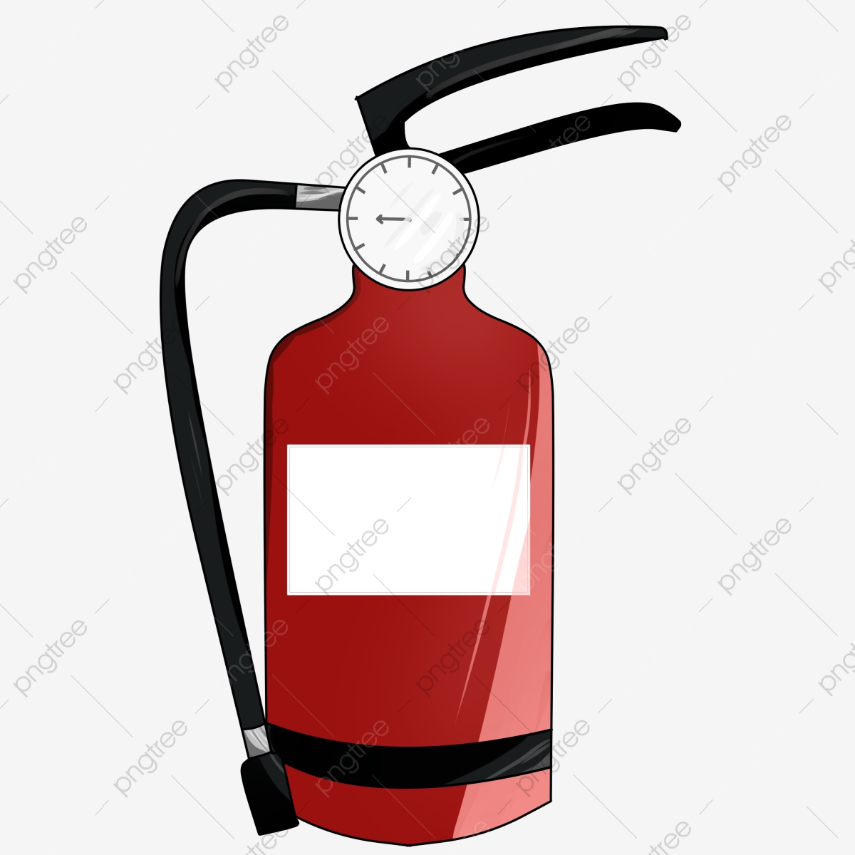 Fire Extinguisher Salute, Cartoon Hand Painted, Cartoon, Standing.