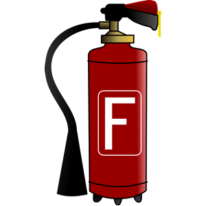 Cartoon fire extinguisher clipart.