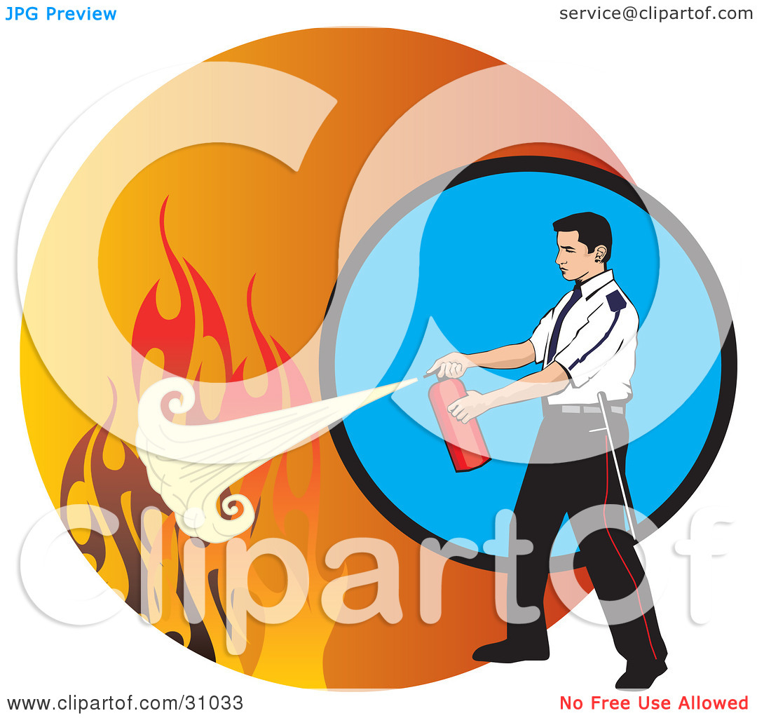 Clipart Illustration of a Man Calmly Extinguishing Flames With A.
